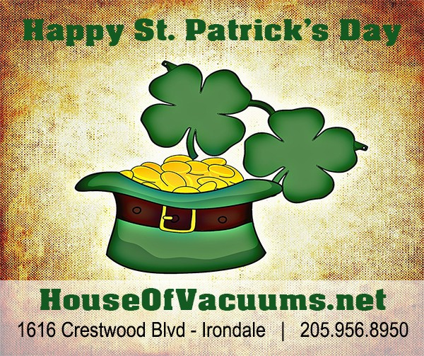 Happy St. Patrick's Day 2016 from House of Vacuums Irondale - Your #1 floor cleaning solution to keep your home clean and tidy | located at 1616 Crestwood
